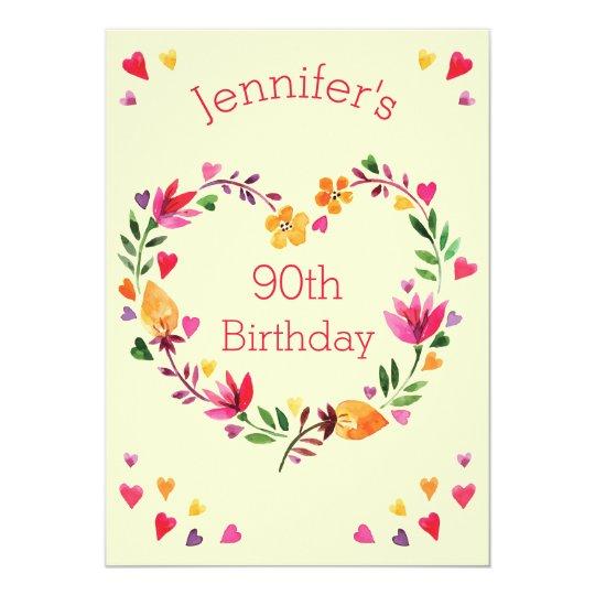 Watercolor Floral Love Heart Wreath 90th Birthday Invitation