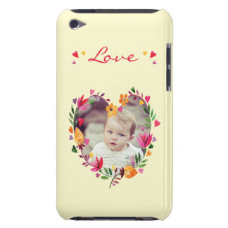 Watercolor Floral Love Heart Wreath Photo Barely There iPod Covers