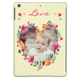 Watercolor Floral Love Heart Wreath Photo Cover For iPad Air