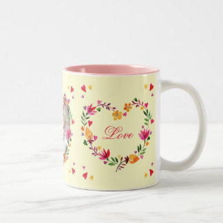 Watercolor Floral Love Heart Wreaths Photo Two-Tone Mug