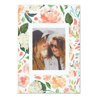 Watercolor Floral Maid of Honor Photo Keepsake Card