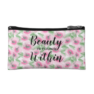 Watercolor Floral Makeup Bag