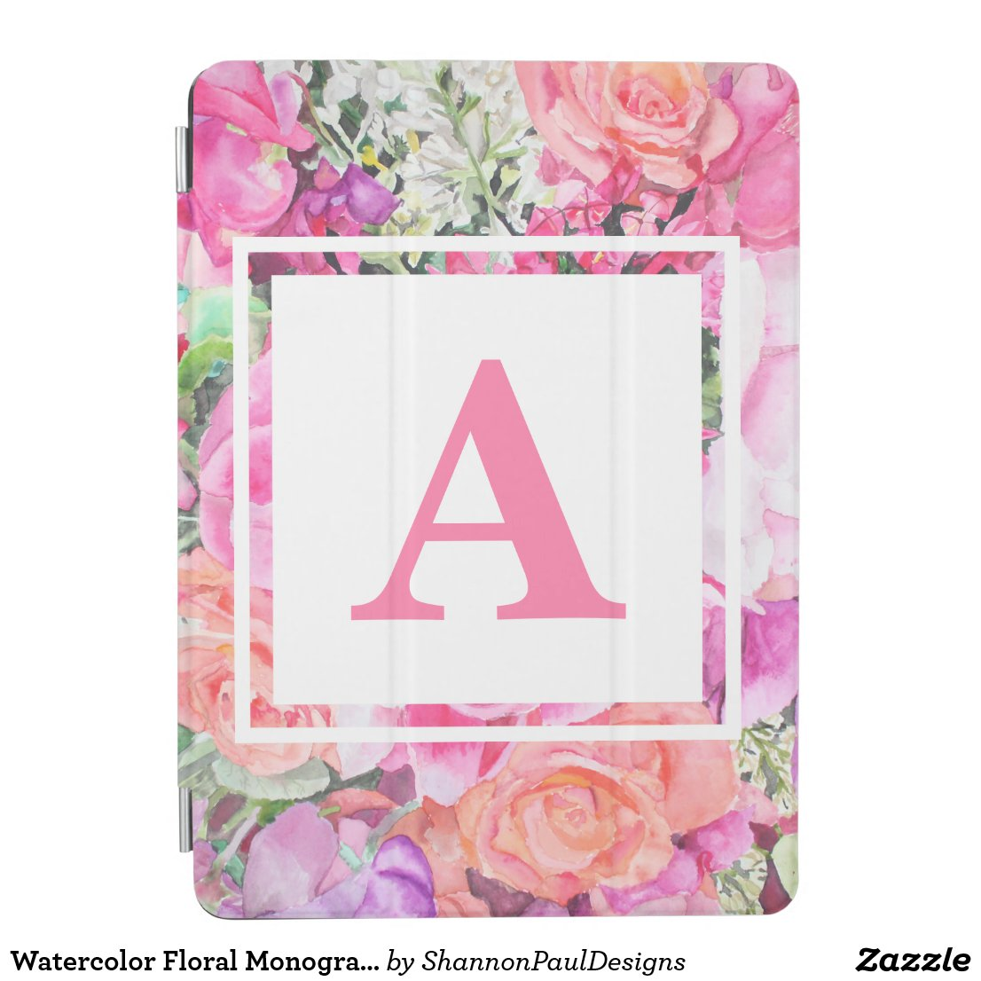 Watercolor Floral Monogram iPad Case