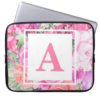 Watercolor Floral Monogram Laptop Sleeve