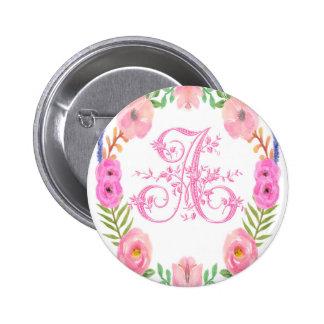 Watercolor Floral Monogram Letter A 6 Cm Round Badge