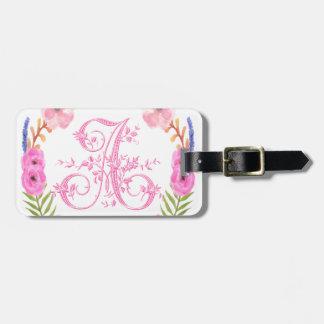Watercolor Floral Monogram Letter A Bag Tag