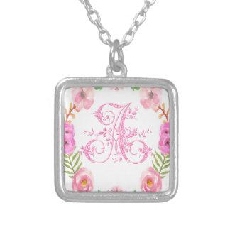 Watercolor Floral Monogram Letter A Square Pendant Necklace
