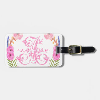 Watercolor Floral Monogram Letter A Travel Bag Tag