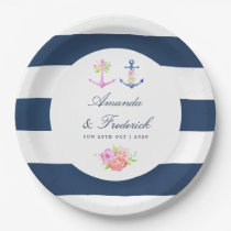 Watercolor Floral Nautical Wedding Paper Plate