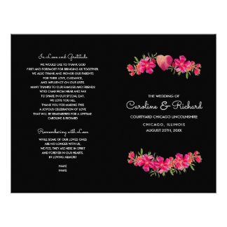 Watercolor Floral Painting Wedding Programs Flyer