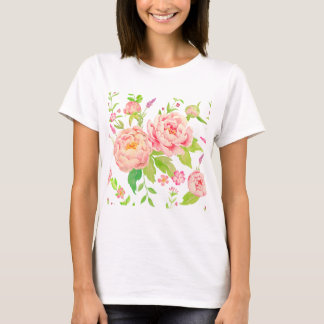 Watercolor floral pattern pink peony T-Shirt