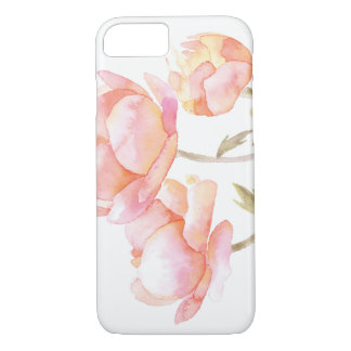 Watercolor floral - Peach Peony iPhone 8/7 Case