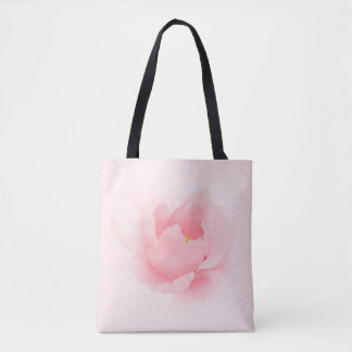 Watercolor Floral Peony Light Pink All Over Tote