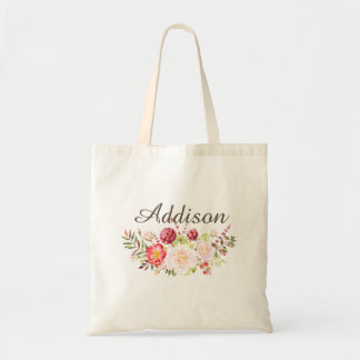 Watercolor Floral Personalized Girls Canvas Tote Budget Tote Bag