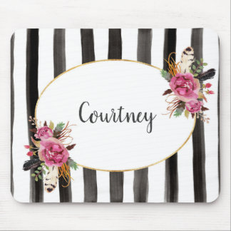 Watercolor floral personalized mousepad