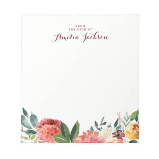 Watercolor Floral Personalized Notepad Stationery