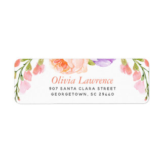 Watercolor Floral Personalized Return Address