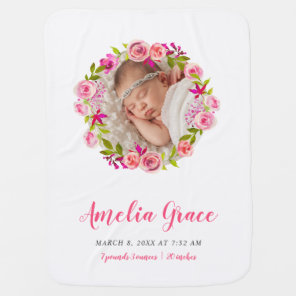 Watercolor Floral Photo Baby Birth Stats Baby Blanket