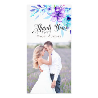 Watercolor floral photo thank you notes picture card