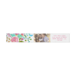 Watercolor Floral Photo Wrap Around Label