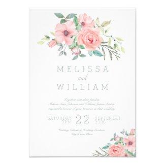 Watercolor Floral Pink  Grey Wedding Invitation