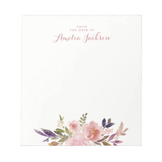 Watercolor Floral Pink Personalized Stationery Notepad