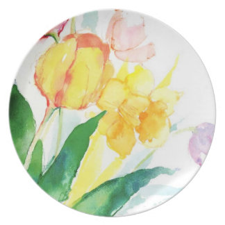 watercolor floral plate