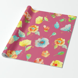 Watercolor floral poppy pattern Wrapping paper