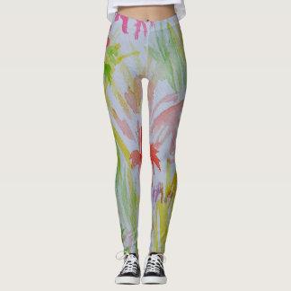 Watercolor Floral Pretty Stylish Trendy Spring Leggings