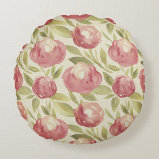 Watercolor floral print, bright, green, violet round cushion