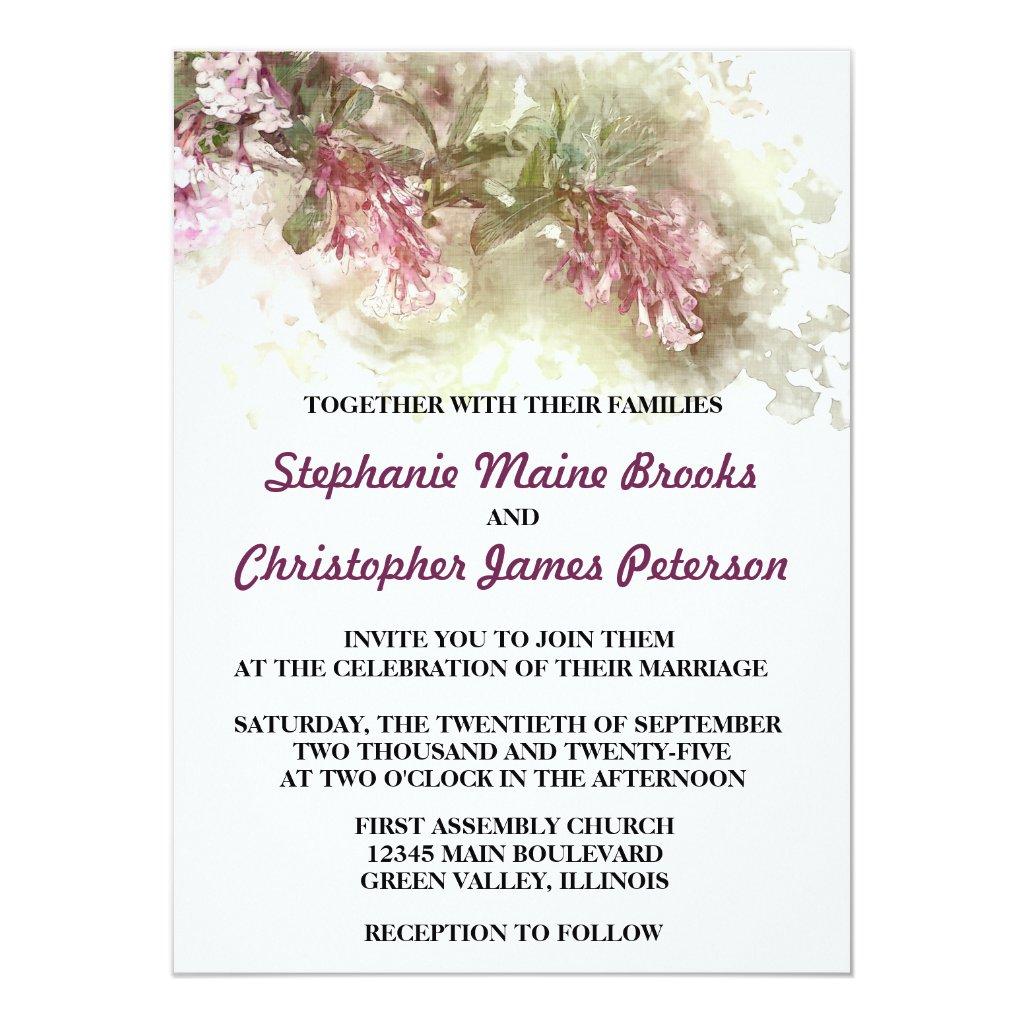 Watercolor Floral Purple Jasmine Wedding Card