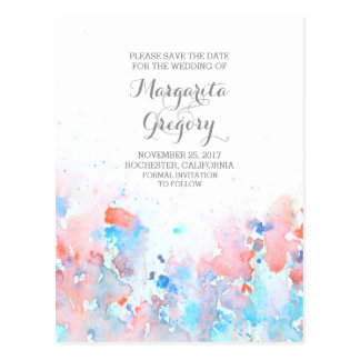 watercolor floral save the date postcards