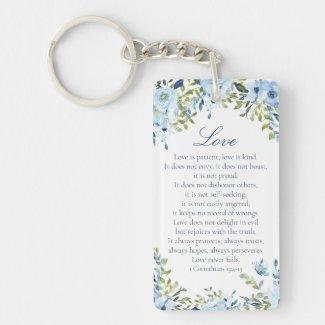 Watercolor Floral Scripture Name Key Ring