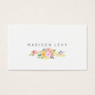 Watercolor Floral Simple Chic Business Cards