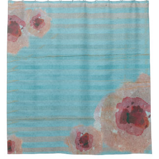 Watercolor Floral  Striped Boho | Shower Curtain