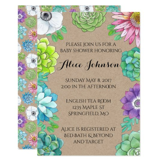 Watercolor Floral Succulent Shower Invitation