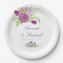 Watercolor Floral Summer Wedding Paper Plate