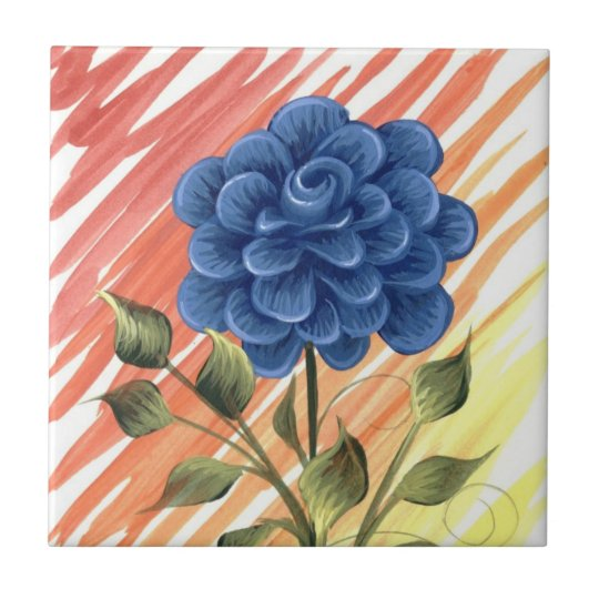 Watercolor Floral Tile 4