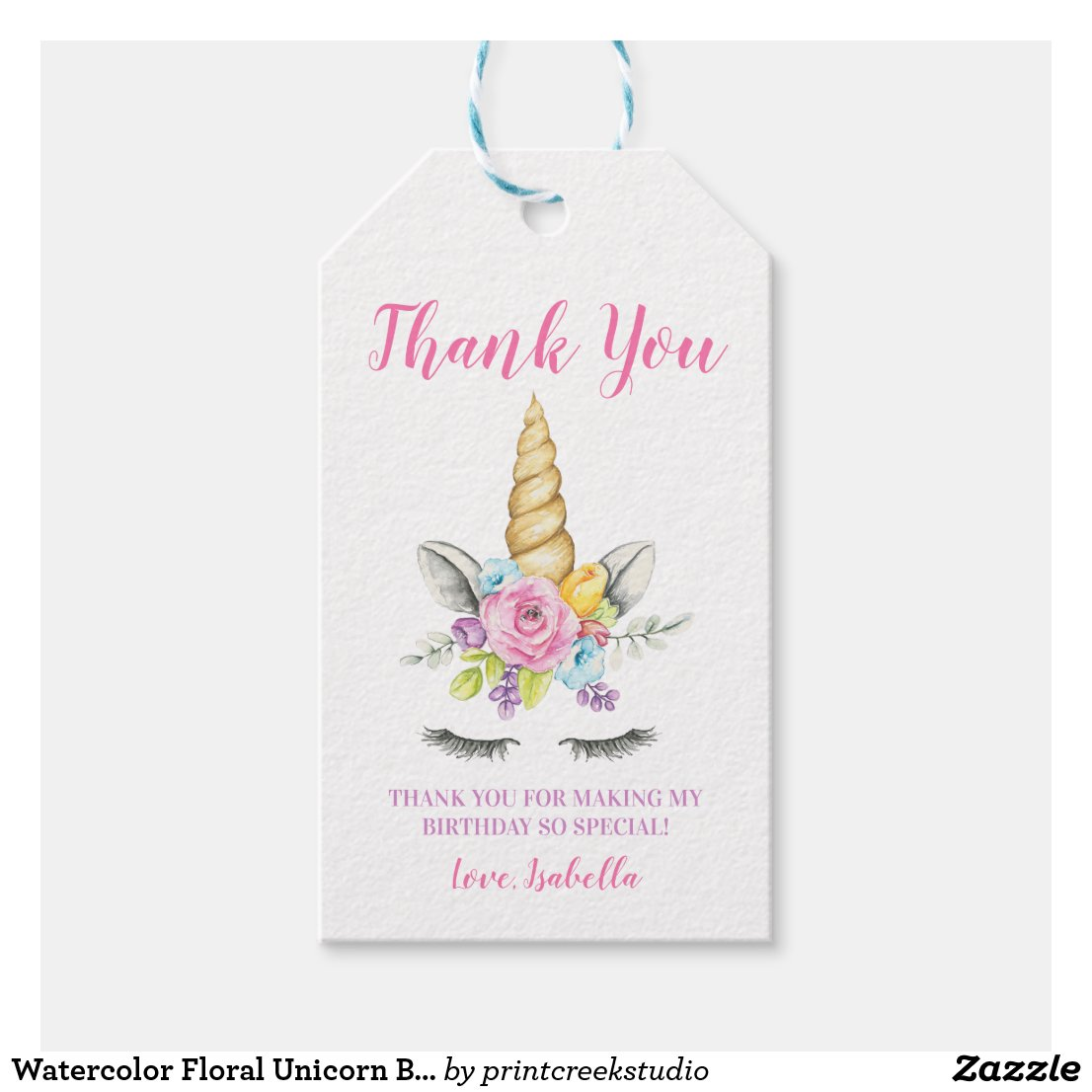 Watercolor Floral Unicorn Birthday Gift Tags