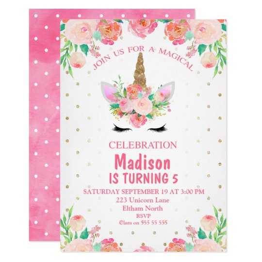 Watercolor Floral Unicorn Birthday Invitation