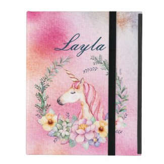 Watercolor Floral Unicorn Case with Custom Name