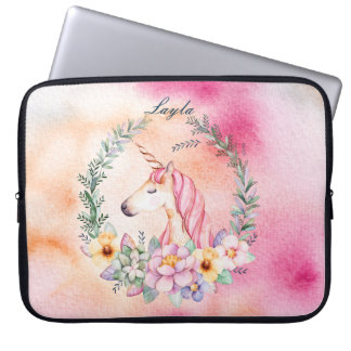 Watercolor Floral Unicorn Case with Name