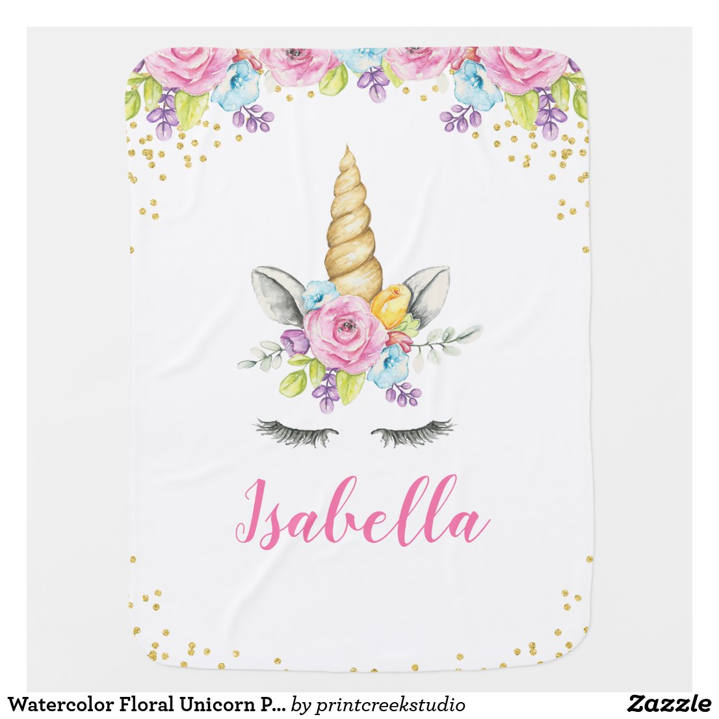 Watercolor Floral Unicorn Personalised Baby Blanket