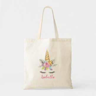 Watercolor Floral Unicorn Personalised Tote Bag
