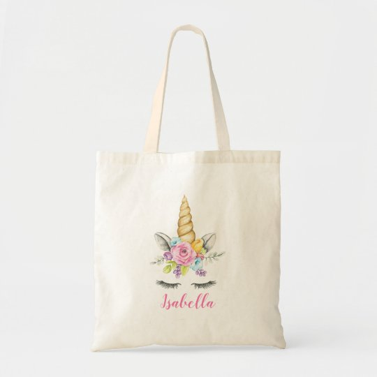 Floral unicorn tote bag