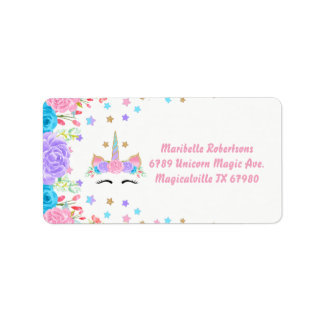 Watercolor Floral Unicorn Personalized Address Label