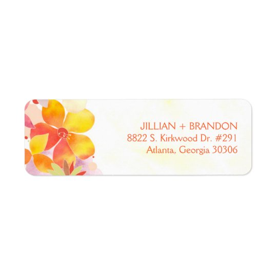 Watercolor Floral Wedding Address