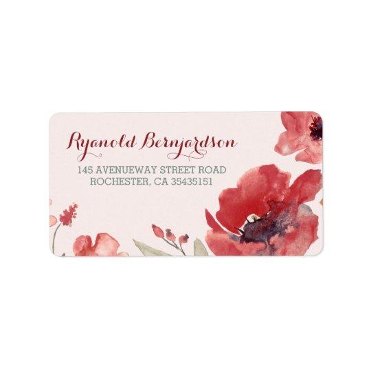 Watercolor Floral Wedding Label