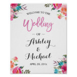 Watercolor Floral Welcome Wedding Reception Sign
