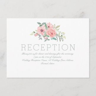 Watercolor Floral White Pink Wedding Reception Enclosure Card